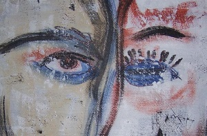Detail from Their Eyes Met Across a Crowded Room by Nancy Denommee